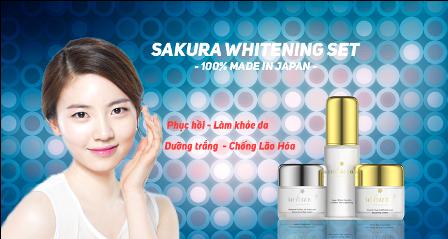 Phục hồi - Dưỡng trắng da bằng bộ kem dưỡng trắng da Sakura Nhật Bản