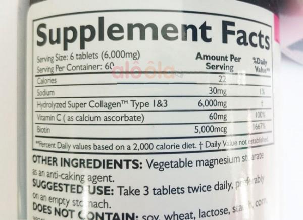 Thành phần các chất có trong Super Collagen +C 360 viên