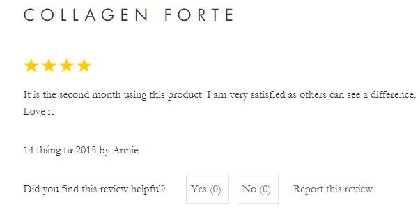 Đánh giá cửa người sử dụng sản phẩm Gold Collagen Forte