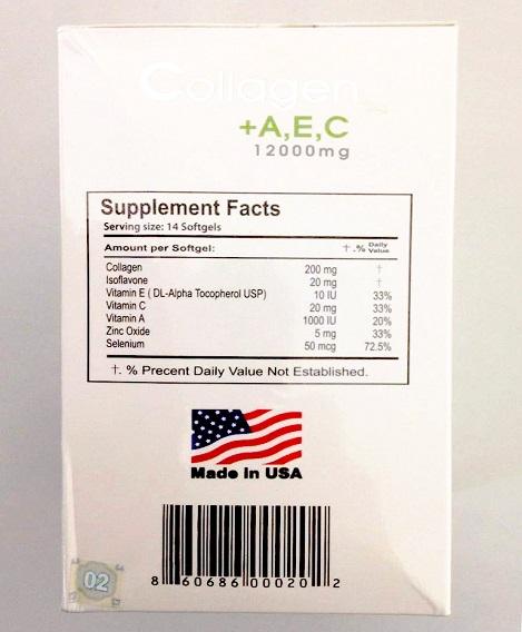 Mặt bên hộp Collagen ACE có ghi rõ nguồn gốc xuất xứ và mã vạch