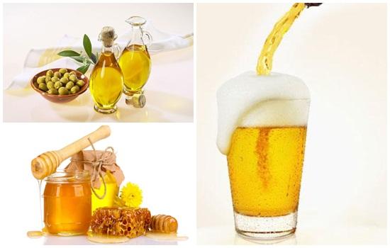 Làm trắng da mặt bằng bia và dầu oliu, mật ong
