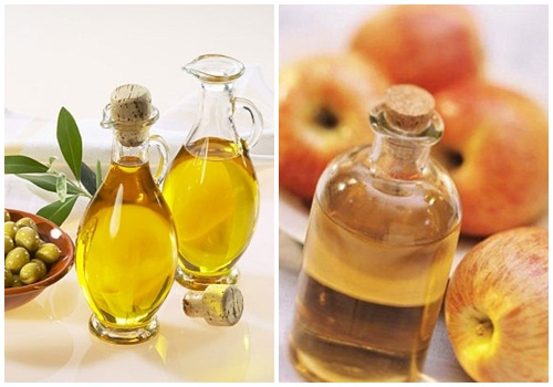 Trị mụn thịt bằng giấm táo và dầu oliu